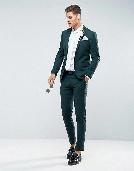 b76e172b485a23 ASOS DESIGN | ASOS Wedding Skinny Suit Jacket in Forest Green with Printed  Lining #suitandtie