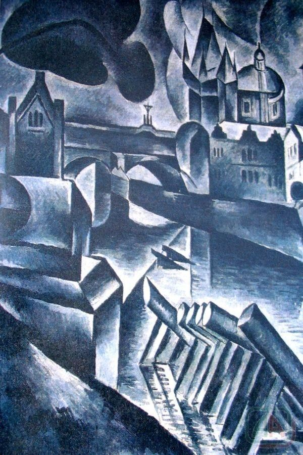 Bohumil Kubišta (Czech 1884– 1918) [Cubism, Expressionism, Osma (The Eight)] Staropražský motiv (Old Prague Motive).