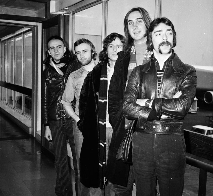 Genesis in the 70s -- L-R Peter Gabriel, Phil Collins, Tony Banks, Mike Rutherford and Steve Hackett