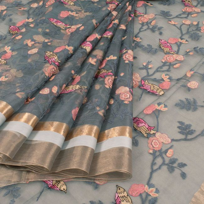 Embroidered Bluish Grey Organza Fancy Saree With Floral, Bird Motifs & Zari Border