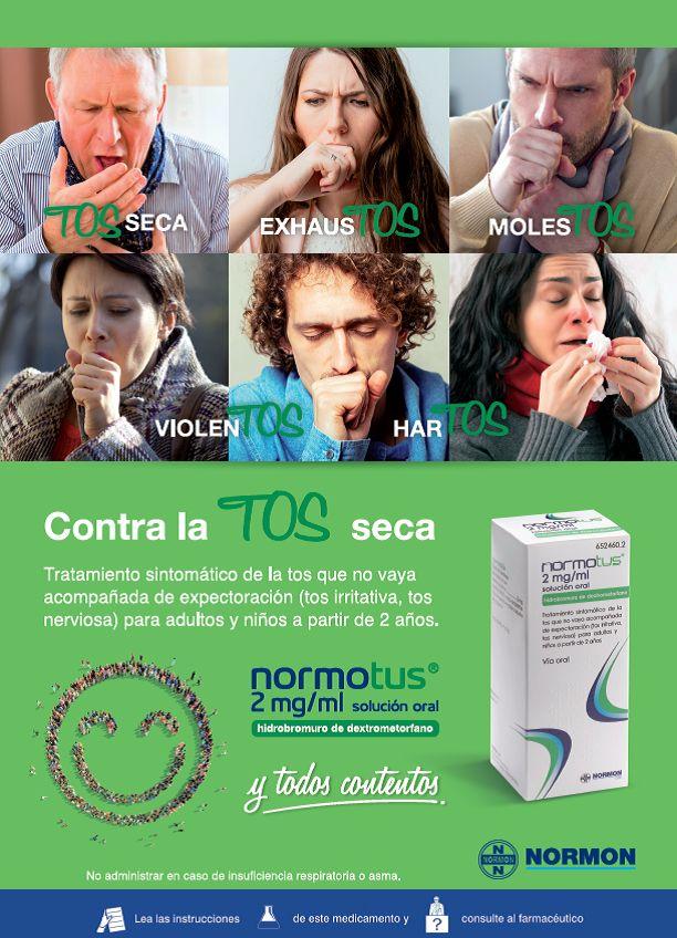 Normotus, solución oral para el tratamiento sintomático de la tos seca (tos irritativa y tos nerviosa) para adultos y niños a partir de 2 años.  ¡Y todos contenTOS!  #OTC #antitusivo #tos #tosseca