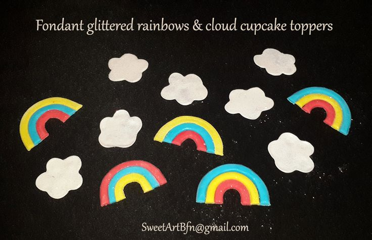 Fondant rainbows & clouds (Toppers for sale separately) For more info or orders email SweetArtBfn@gmail.com; Call 0712127786;  Bloemfontein cakes, cupcakes & fondant decor.