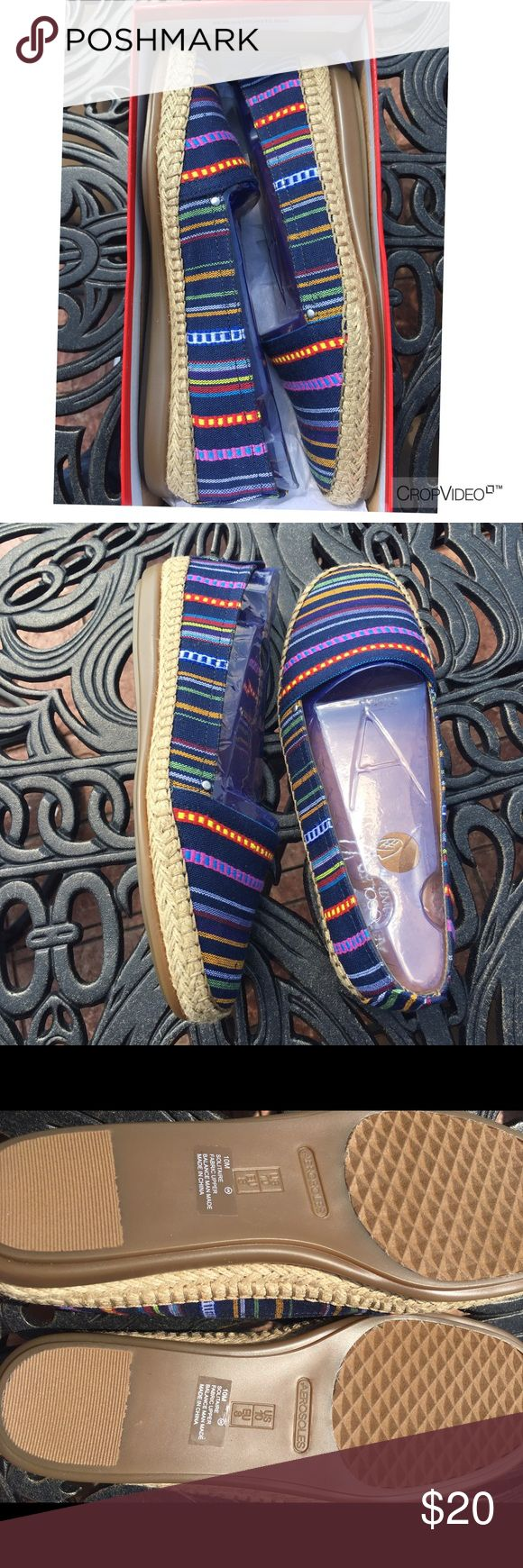 Never been worn ladies espadrilles Beautiful multi- color Aerosole Espadrille.  Throw on with a pair of cute white pants or a nice spring skirt. AEROSOLES Shoes Espadrilles