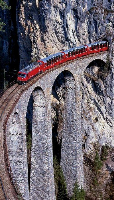 Glacier Express through the Alps in Switzerland. Got on the train in St. Moritz and off near Zermatt, where i had to switch to a smaller cog train. One of THE MOST AMAZING EXPERIENCES EVER!