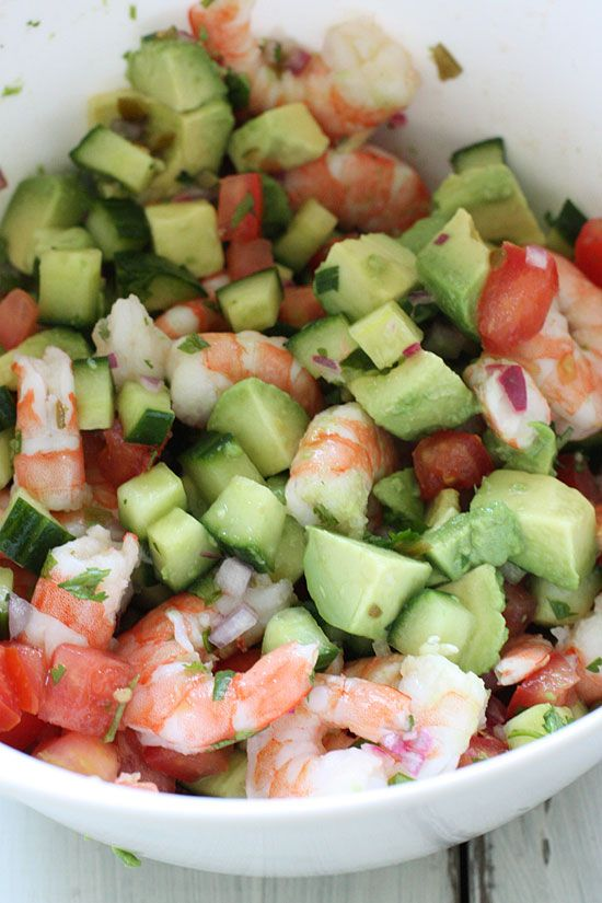 Shrimp Ceviche Cocktail | Skinnytaste -except sub the iceberg w/ baby spinach