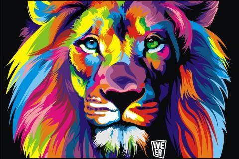 Animales artística leones obras de arte multicolor 3008x2256 HD Wallpaper. Free HQ Wallpaper.