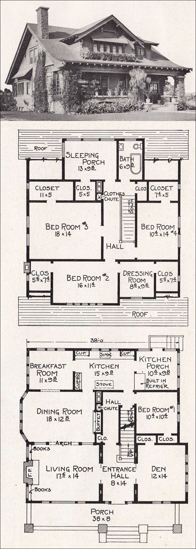 "1918 Bungalow Plan No. R88 by E. W. Stillwel.  ' ""Provision is made for the following conveniences: Bookcases, fireplace, coat closet, kitchen cabinets, buffet, built-in refrigerator, laundry on screen porch, large closets on second floor and clothes chute."" Quite a grand house at about 2500 sf, though it has but a single bathroom.'"