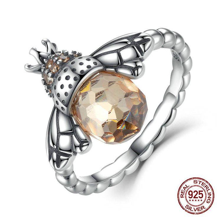 Ape Gialla Anello con zirconi gialli 100% argento sterling Compatibile con misura europea anello di fidanzamento e Pan gioielli CR025 di OceanBijoux su Etsy