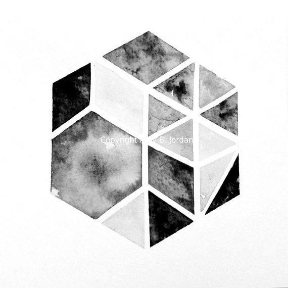 Free Shipping! Original Hexagon Triangle Geometric Painting or Print  / tribal art  / nate berkus inspired / geometric