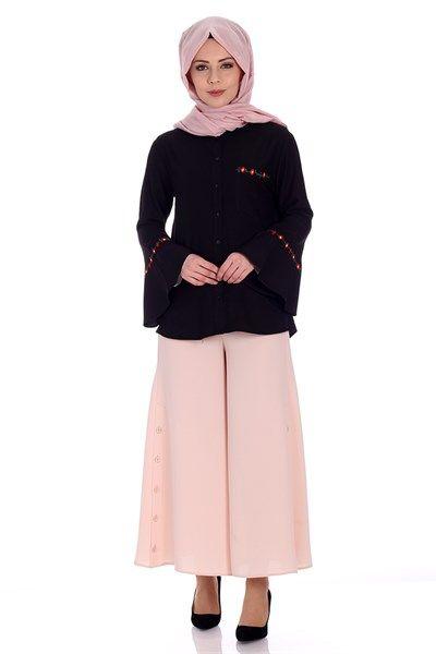 Nakış Detaylı Gömlek 8586 - Siyah Gömlek / Bluz Modelleri - Kirazgiyim.com