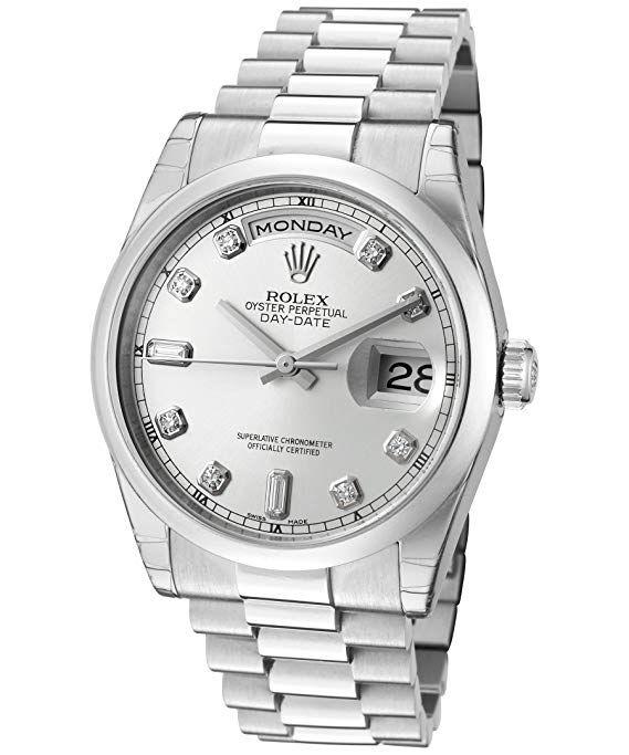 fc37e9ede76 Rolex Men's Day-Date Automatic White Diamond Silver Dial President Platinum Rolex  Price List,