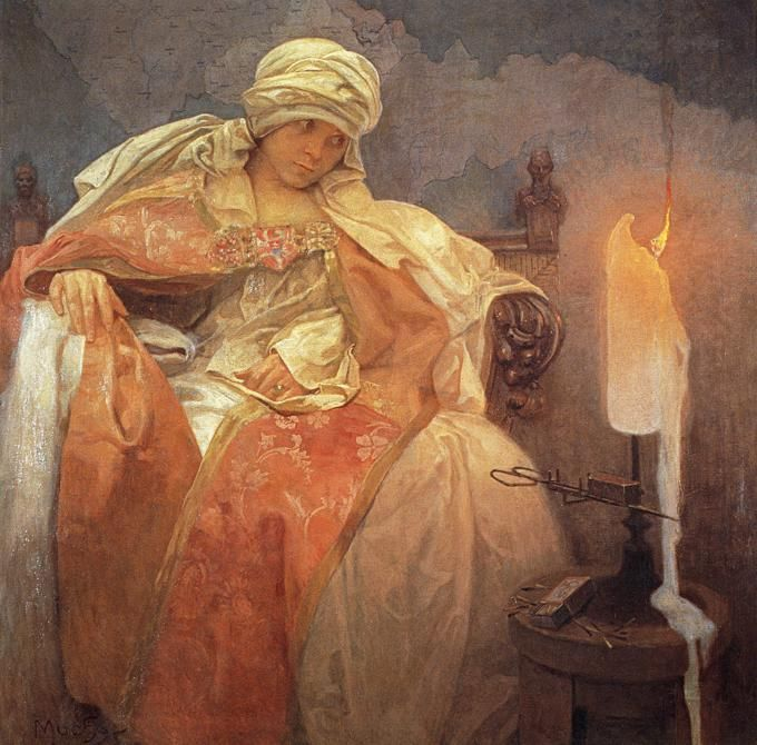 Woman With A Burning Candle by Alphonse Mucha