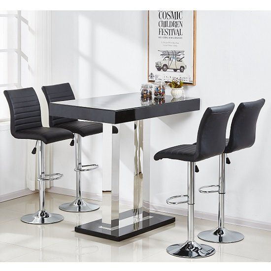 Beau Caprice Glass Bar Table Rectangular In Black High Gloss With Stainless  Steel Support And 4 Ripple Black Bar Stools In Faux Leather, This Set  Exhibits Classy ...