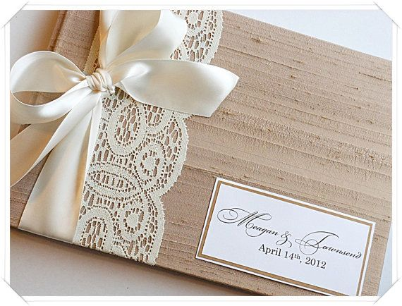Wedding Guest Book Cover Diy : Tan custom wedding guestbook with lace band made to order