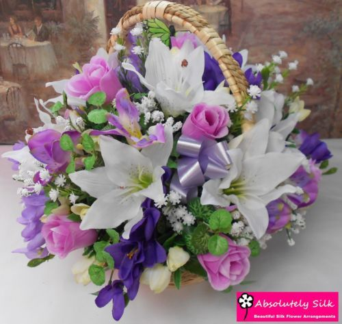 Flower Girl Baskets Dublin : Artificial silk flower arrangement posy in medium wicker