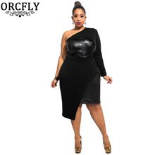 Orcfly Plus size Kadınlar Elbiseler 2016 Siyah Tek omuz Deri Patchwork Büstü ve Yan Elbise Vestidos De Invierno 60949(China (Mainland))