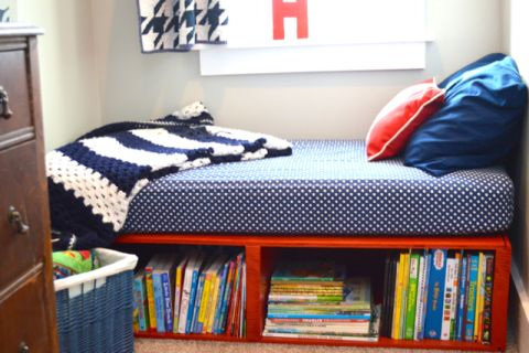 Cute idea for a toddler bed with storage!