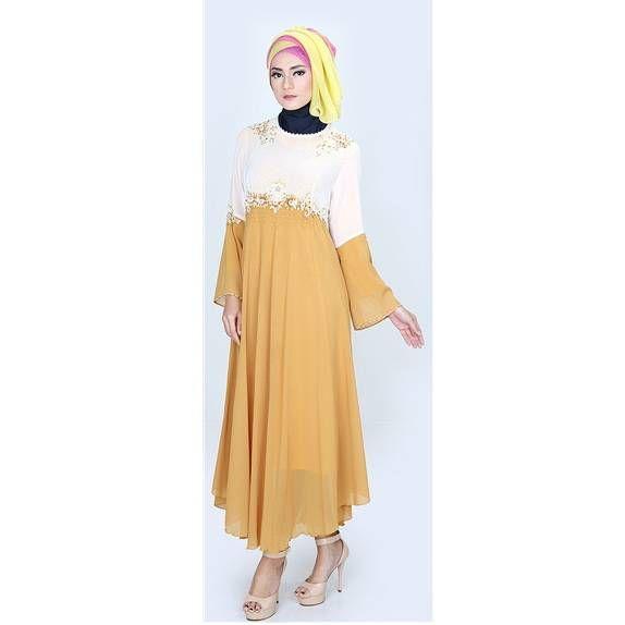 Baju gamis 2016 – Model baju gamis modern terbaru warna cream kuning yang cantik dan elegan. Trend harga jual baju gamis murah grosir online shop 2016...