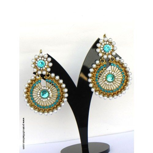 Gold Plated Kundan Earrings With Glorious Traditional Design, Drops A2