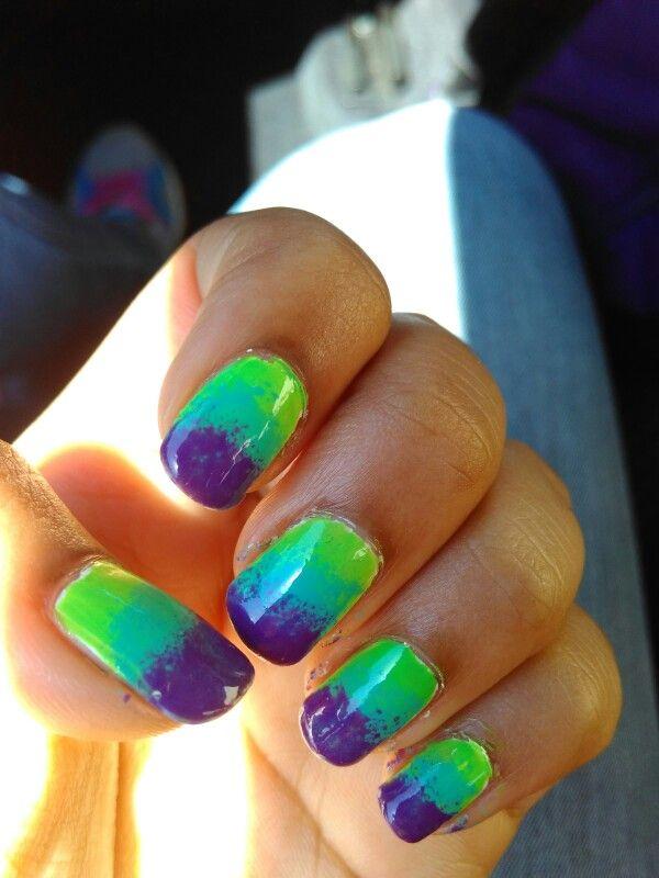 Ombre nails forever #nail #nailart #green #blue #purple #diy #ombre #fade #sun #sponge #hand #art #beautiful