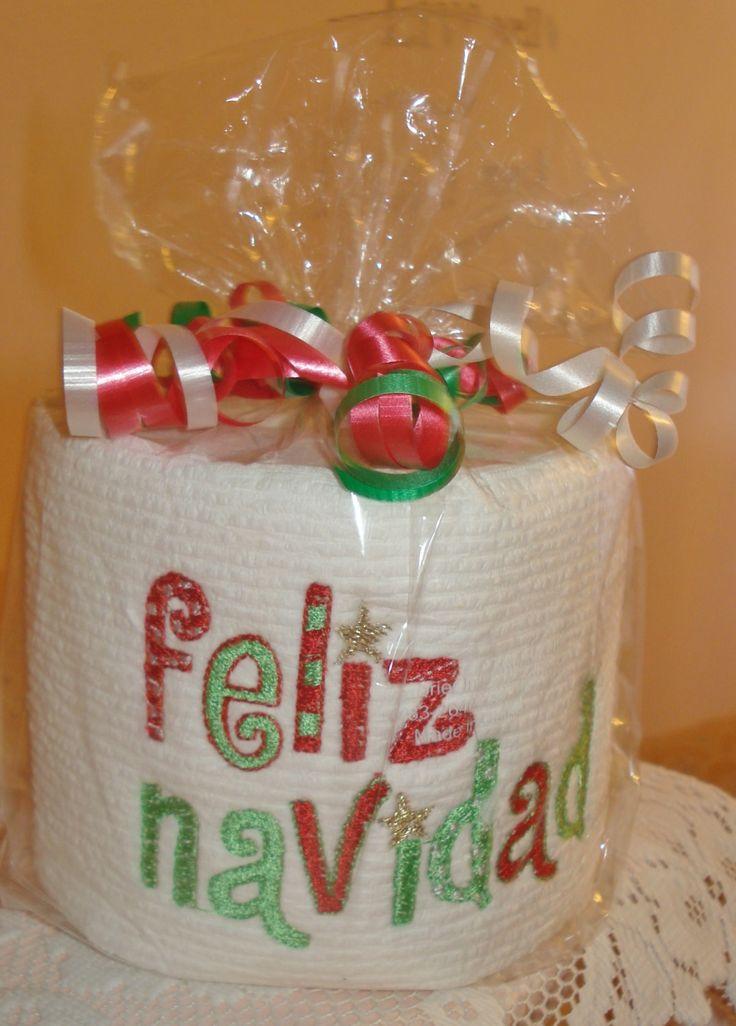Machine embroidery toilet paper feliz navidad by lindasboutik on Etsy