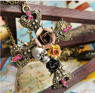 Cross with skull flowers necklace pendant great for diy phone bling | chriszcoolstuff - Craft Supplies on ArtFire