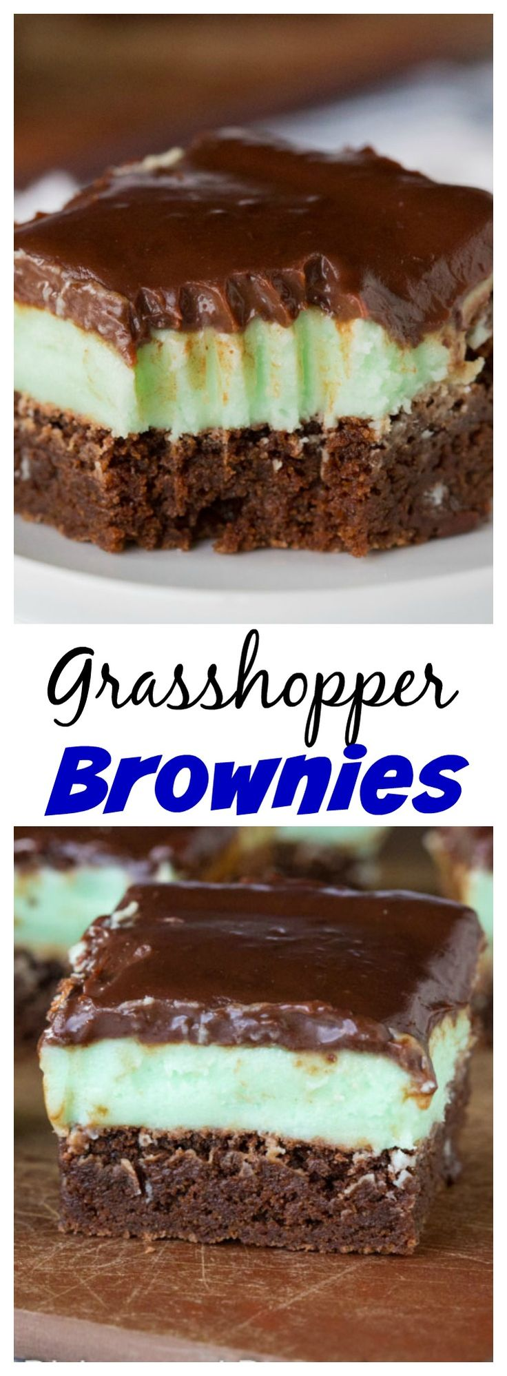 Grasshopper Brownies – fudgy brownies with minty butter cream frosting and topped with a chocolate ganache.