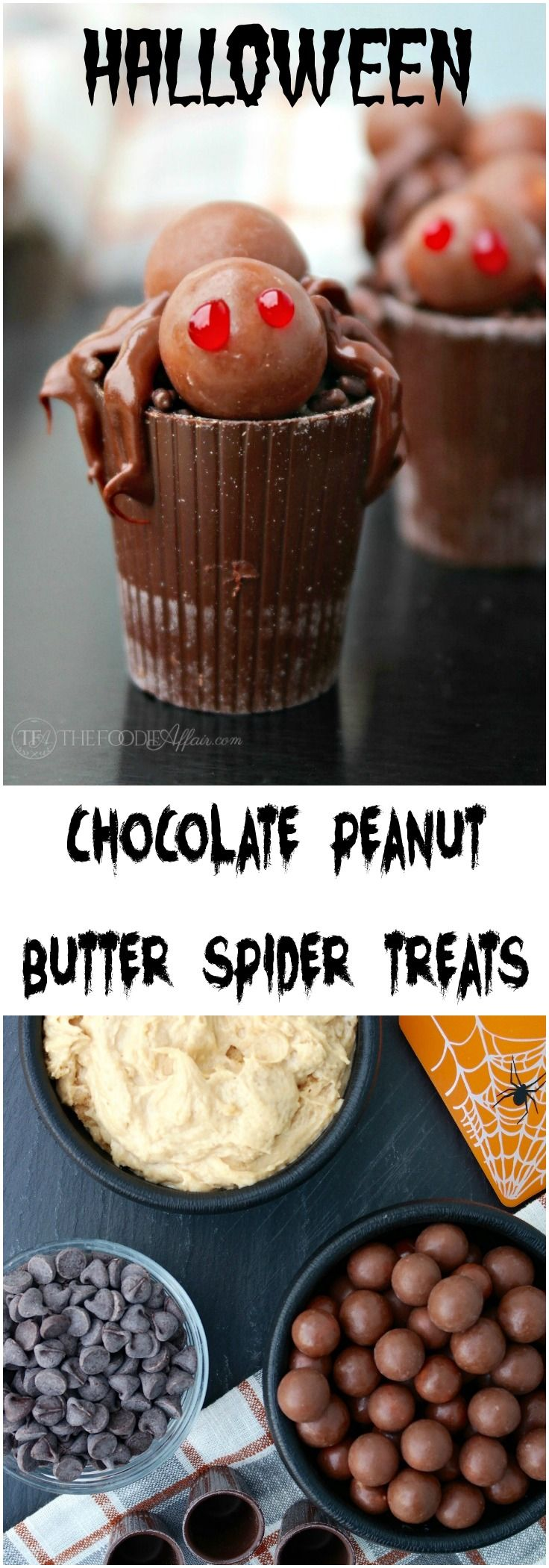 Halloween Chocolate Peanut Butter Spider Treat will be a perfect addition to a party celebrating the fun holiday! The Foodie Affair