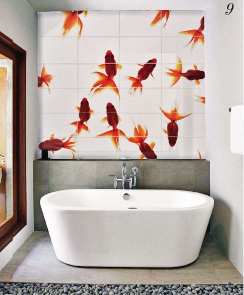 124 best images about japanese bathtub ideas on pinterest for Koi fish bathroom decorations