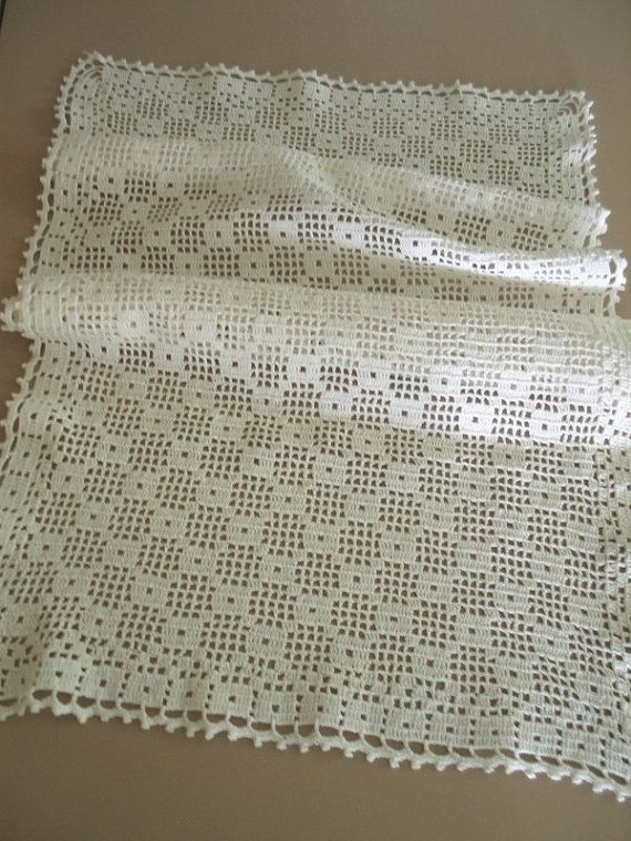 Large Rectangular Filet Crochet Table Runner by ShurleyShirley