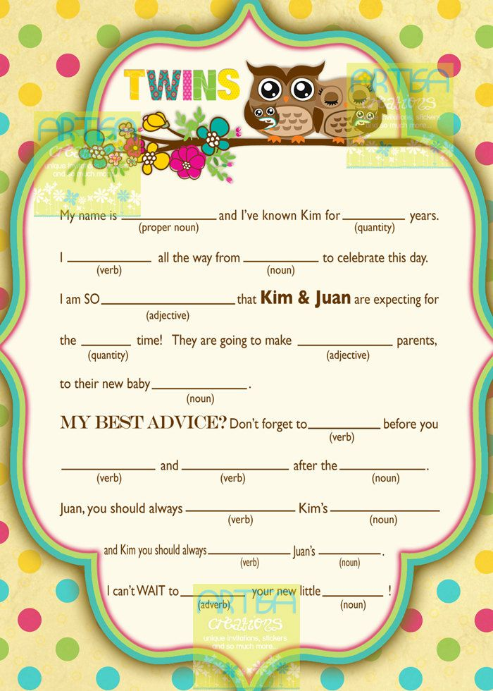 baby shower mad lib owls and flower baby shower personalized mad
