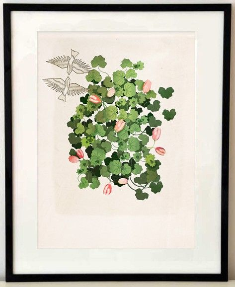Lady´s mantle and tulips from Anna Handell Montage #nordicdesigncollective #annahandellmontage #annahandell #ladysmantle #tulip #tulips #spring #flower #green #pink #bird #brids #longinforspring #flowers #poster #homedecor #swedishdesign #scandinaviandesign