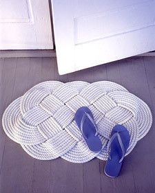 DIY Rugs, this is made with rope but could easily be made with a long crochet rectangle