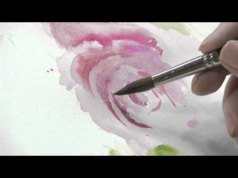 How to Paint a Red Flower with Green Leaves Using Watercolors - YouTube