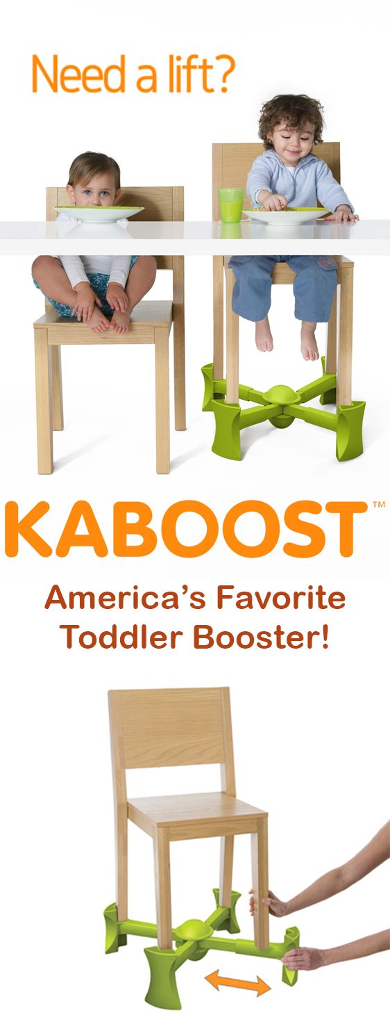 KABOOST is a revolutionary booster seat for dining and goes under the chair! KABOOST is the only compact and portable chair booster that raises the height of kitchen and dining room chairs so little kids can sit at the table just like big kids.You can learn more, and read hundreds of reviews from real customers at www.kaboost.com