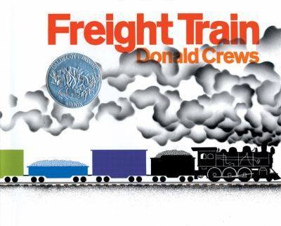Freight Train by Donald Crews. Brief text and illustrations trace the journey of a colorful train as it goes through tunnels, by cities, and over trestles.