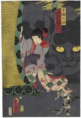 #Toyokuni ukiyoe triptych of a scene in a play of supernatural cats. An onagata (man playing a woman) in the center panel stares at the priest in fright, while a man in the right panel leans on his flute held like a staff. In the foreground two other similar cats dance on their hind legs. A giant cat looms menacingly over the inscrutable scene.