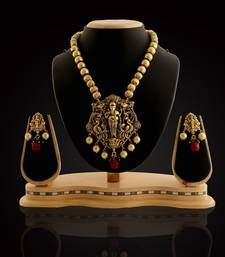 Buy Traditional & Antique Temple Design Gold Prarl & Ganpati pendant Necklace With Earring Set Jewellery necklace-set online