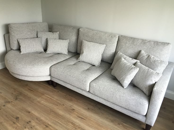 Left Hand Facing Rounded Chaise With Sofa Section   In Light Grey Fabric And