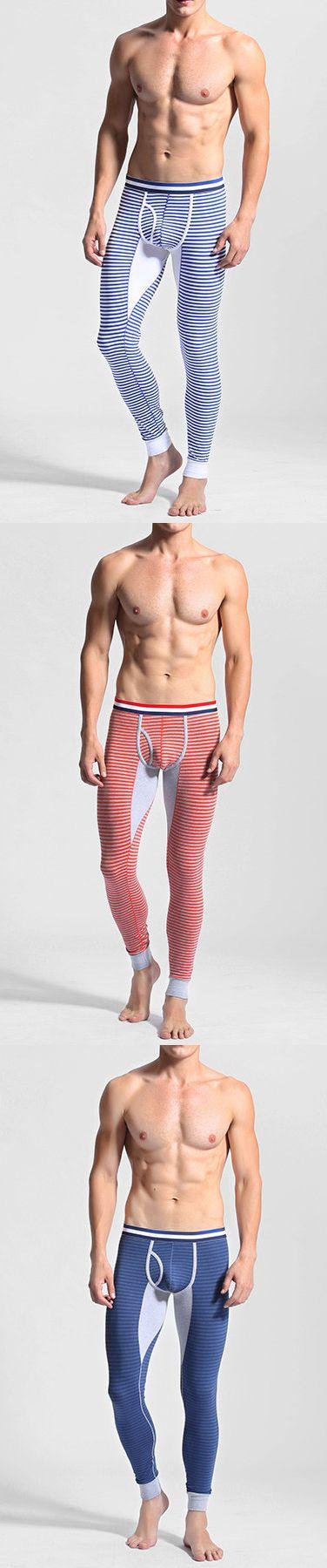 Casual Cotton Stripe Printing Slim Tight Fitting Warm Leggings for Men