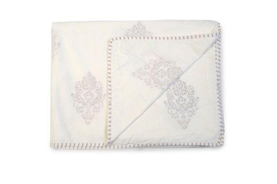 MUGHAL GREY Dohars Summer Blanket Handblock by whitejasminebedding