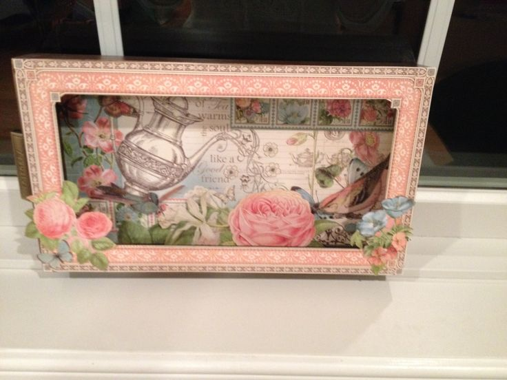 Shadow box made with Graphic 45 papers & 7 Gypsies Library tray