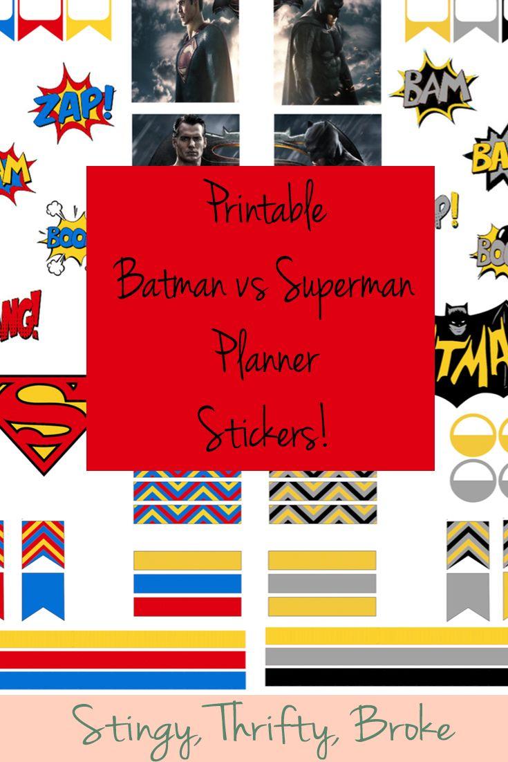 Printable Batman vs Superman Planner Stickers