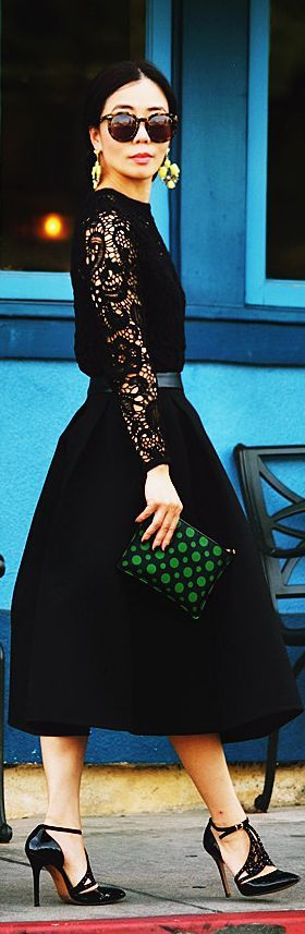 Holiday Style: Black Lace And Black Full Skirt by Hallie Daily