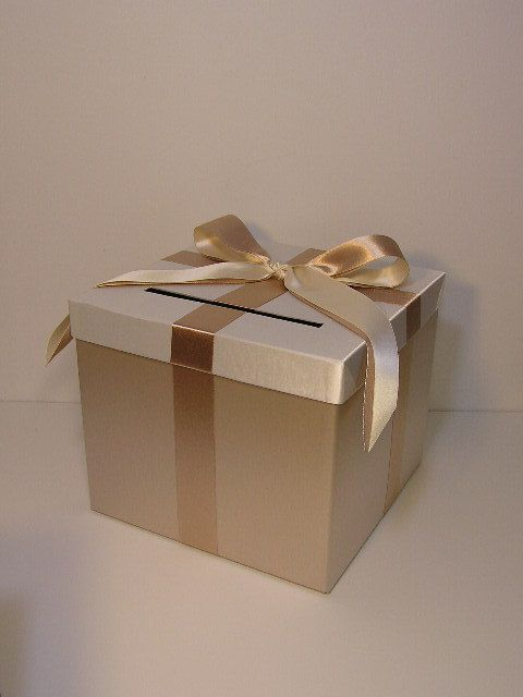 Champagne and Ivory Wedding Card Box Gift Card Box by bwithustudio, $62.00
