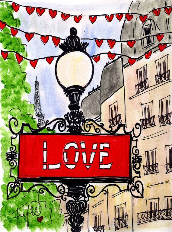 ORIGINAL PAINTING... Fifi Flowers' Sign of Love in Paris