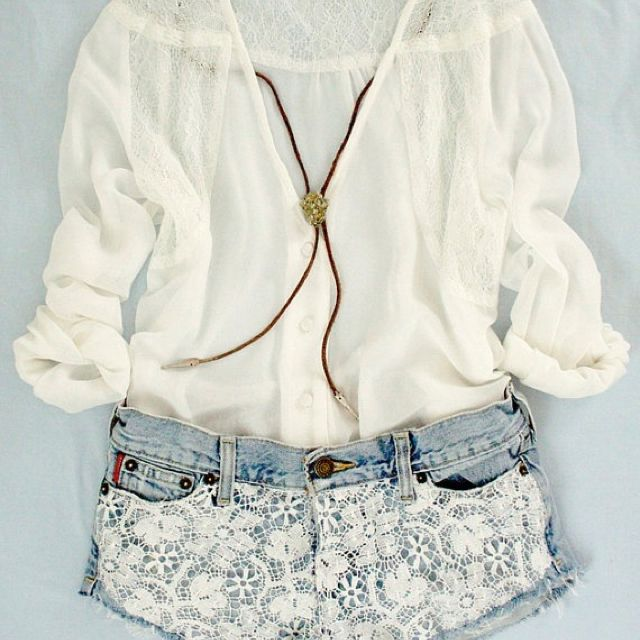 loveFashion, Summer Looks, Summer Outfit, Style, Clothing, Cute Outfit, Denim Shorts, Lace Shorts, Dreams Closets