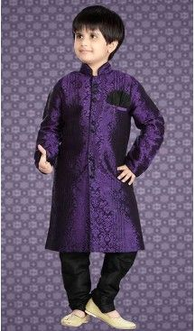 Purple Color Jacquard Readymade Boys Kurta Pajama Set | FH508677481 #boys, #kurta, #sherwani, #pajama, #readymade, #churidar, #kids, #wear, #sherwani, #blazzer, #suits, #indian, #fashion, #boutiques, #heenastyle, #Kids , #traditional, @heenastyle , #mens