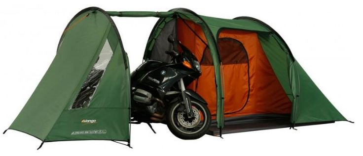 "Vango Stelvio 200 2 Man Tent - A tent designed for motor cyclists and touring cyclists. The Stelvio 200 is a 2 man tent with a storage area big enough to put a motorcyle or two bycicles and a large 2 man bedroom with 260 cm (5""4' ) of height, and 270 cm in the storage/living area.  The roll up tent bag is waterproof,  measuring 55cm x 21 cm, (22""  x 8.4"").  The Stelvio comes with Vango's patened TSB band system, a storage area for the tent, factory taped seams, powerlite alloy poles,which…"