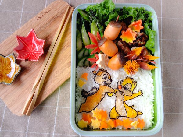 Chip n Dale Autumn Bento  I am so happy that I could pack my first bento in this beautifully designed Black + Blum Sandwich Box. I did bend the 'rules' a little, instead of sandwich, I packed a rice-based meal. It still fitted perfectly, so do not restrict the use of this functional bento box!   http://en.bentoandco.com/blogs/news/10394945-chip-n-dale-autumn-bento